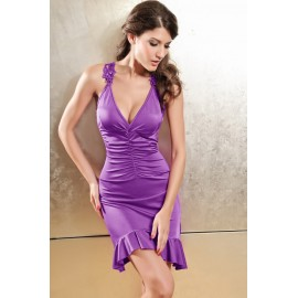 Sexy Glamorous Ruched Maxi Works Midi Party Dress Purple