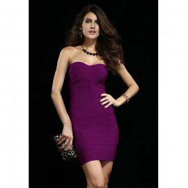 Elegant Formfitting Bandage Mini Dress in Purple