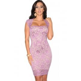 Purple Lace Nude Illusion Vintage Midi Dress
