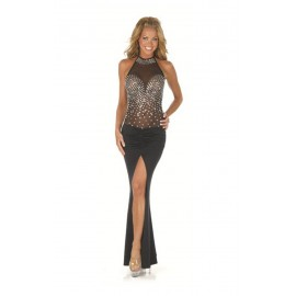 Rhinestone Sheer Mesh Bodice Evening Long Dress