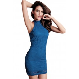 Racy Lace Open Back Blue Mini Dress