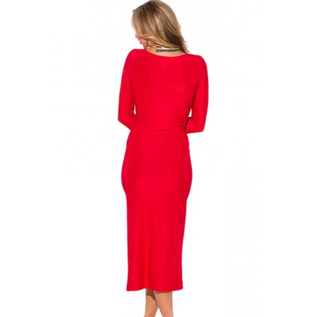 Red Bejeweled High Slit Party Maxi Dress