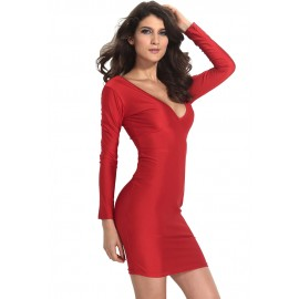 Solid Body Hugging Plunging V Neck Midi Dress Red
