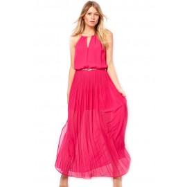 Red Chiffon Gold Chain Maxi Dress