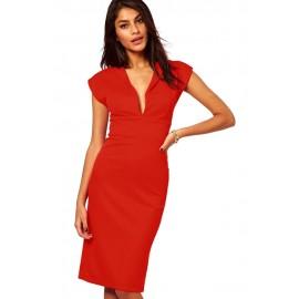 Plunging Pencil Midi Dress Red