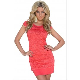 Red Floral Lace Dolly Bow Night Club Mini Dress