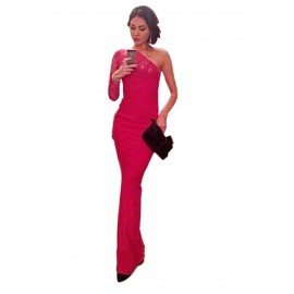Red Floral Lace Trimmed Single Sleeve Evening Dress