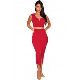 Solid Red Front Slit Two Piece Midi Party Dress Skirt Set