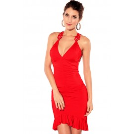 Ruched Maxi Works Dress Red