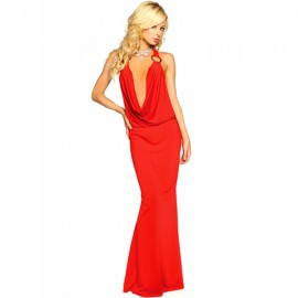 Elegant Halter Slinky Gown With O-Ring With G-String Red