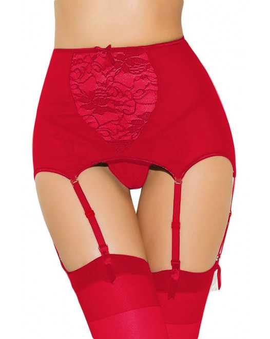 Lace Hollow Out Red Garter Belt