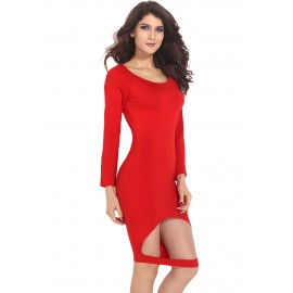 Red Hollow out Front Hem Sexy Bodycon Midi Dress