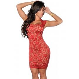 Red Lace Nude Illusion Vintage Midi Dress