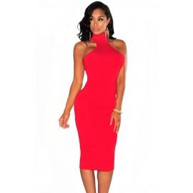 Red Mock Neck Key Hole Back Midi Dress