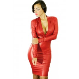 Plunging V Neck Long Sleeve Leather Style Dress Red