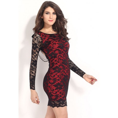 Lace Over a Red Illusion Thrilling Beaded Bodycon Dress