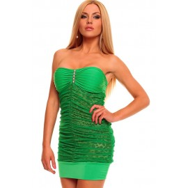 Refined Bandeau Green Mini Dress with Animalistic Touch