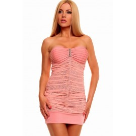Refined Bandeau Pink Mini Dress with Animalistic Touch