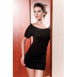 Scoop Neckline Retro Short Zipper Sleeve Mini Dress Black