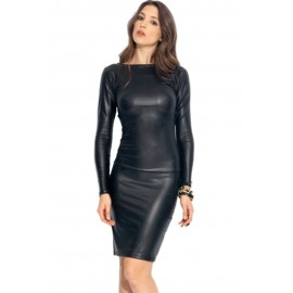 Hot Fashion Reversible Black Faux Leather Midi Dress