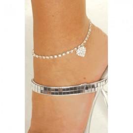 Rhinestone Heart Anklet Bracelet