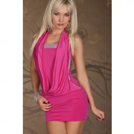 Halter Mini Dress Coat Rhinestone Look With G-String Pink