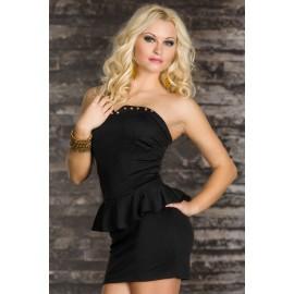 Rivets Embellished Bustline Mini Peplum Dress Black