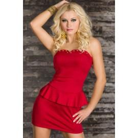 Rivets Embellished Bustline Mini Peplum Dress Red