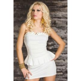 Rivets Embellished Bustline Peplum Mini Dress White