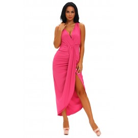 Rosy Draped Slit Front Solid High Low Maxi Dress