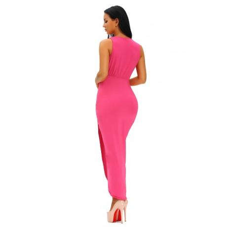 Rosy Draped Solid Maxi Dress