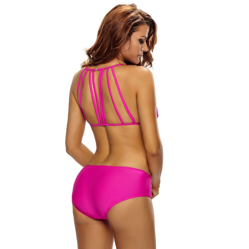 Rosy Triangular Hollow out Strappy Back Bikini Set