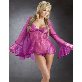 Rose Princess Lace Babydoll Coat With G-String Set