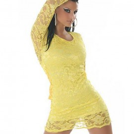 Dazzling Yellow Lace Pierced Bodydoll With G-String Set