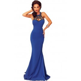 Royal Blue Elegant Mermaid Sleeveless Prom Evening Dress