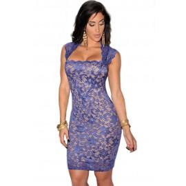 Royal Blue Lace Nude Illusion Midi Dress