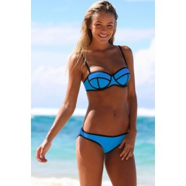 Ribbon Textured Swimwear Bikini set Royal Blue