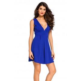 Cute Royal Blue V Neck Sleeveless Skater Mini Dress