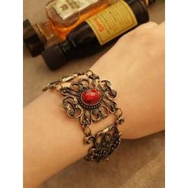 Vintage Inlaid Ruby Carved Bracelet