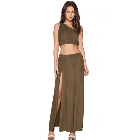Safari Green Crop Top Boba Skirt Set