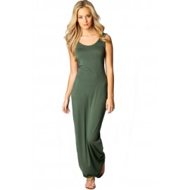 Sandy Scoop Neck Sleeveless Solid Green Maxi Dress