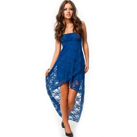 Knee Length Bandeau Lace Evening Dress Sapphire