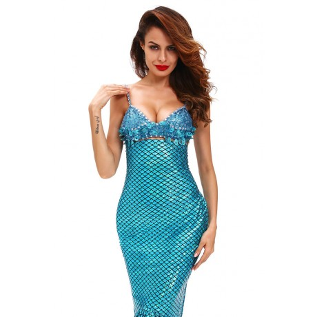 Sensational Blue Sea Gem Sexy Mermaid Costume