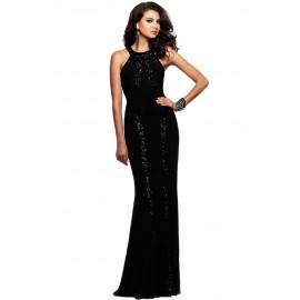 Sequin Trim Black Jersey Patchwork Gown Evening Dress