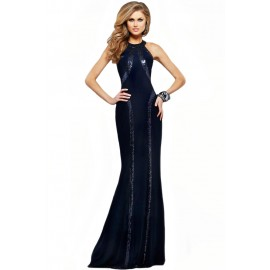 Sequin Trim Blue Jersey Patchwork Gown
