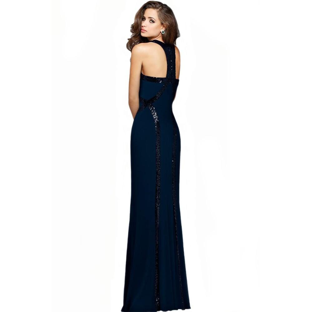 Sequin Trim Blue Jersey Patchwork Gown