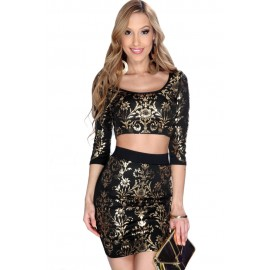 Sexy 2 PCs Gold Black Damask Print Skirt Set