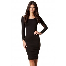 Black Back Scoop Mesh Midi Dress