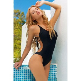 Black Solid One Piece Swimwear