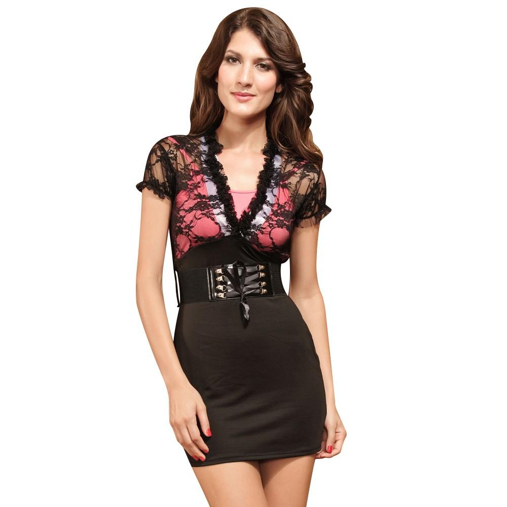 Deep-V Neckline Club wear Mini Dress with Belt Black And Red